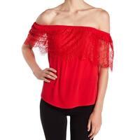 Socialite Women's Large Floral Lace Off Shoulder Blouse