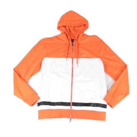 Armani Exchange Mens Sweater Orange Size Large L Colorblock Hooded