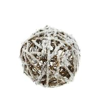 "5"" Country Cabin Frosted White and Brown Twig Weave Ball Christmas Ornament"