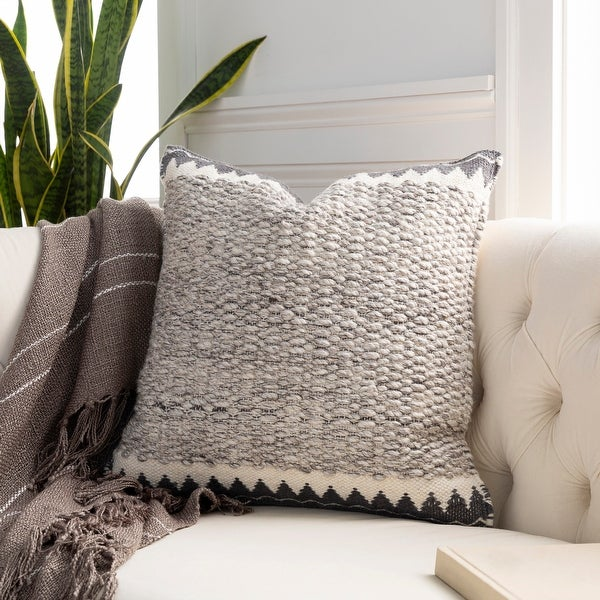 The Curated Nomad Taber Heathered Wool 22-inch Throw Pillow with Down or Poly Fill. Opens flyout.