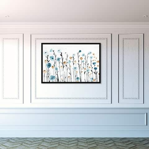 Oliver Gal 'Beautiful Growth' Floral and Botanical Framed Wall Art Prints Florals - Blue, White