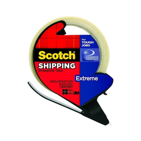 """Scotch 8959-RD Extreme Shipping Strapping Tape with Dispenser, 1.9"""" x 21 Yd"""