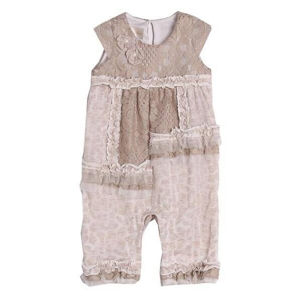 Isobella & Chloe Baby Girls Taupe Knit Lace Ruffle Pattern Romper