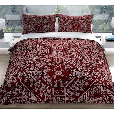 BAYBAR BURGUNDY Duvet Cover by Kavka Designs