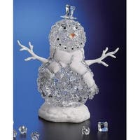 "Pack of 2 Icy Crystal Illuminated Christmas Ice Cube Snowman Figures 12.5"" - CLEAR"
