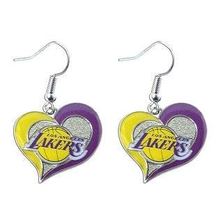 """NBA LA LOS Angeles Lakers 3/4"""" Swirl Heart Shape Dangle Logo Earring Set  Charm Gift"""