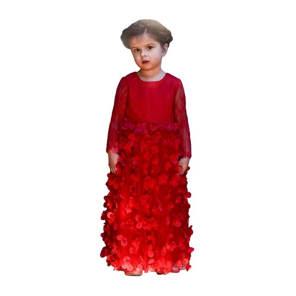 Shop Little Girls Red Lace Petals Floor Length Flower Girl Dress - Free  Shipping Today - Overstock - 23085313 f28ded1b4478