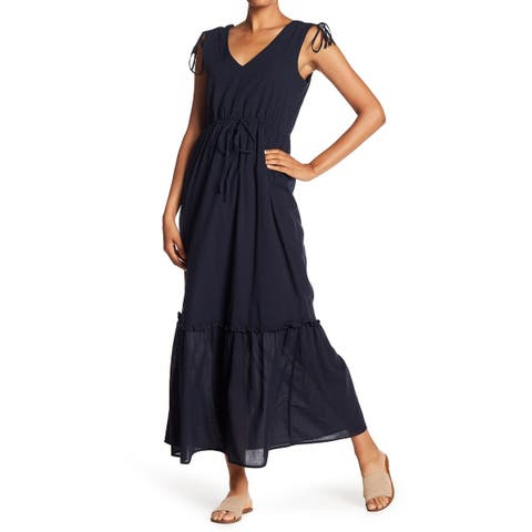 Joe Fresh Deep Womens Drawstring V-Neck Maxi Dress
