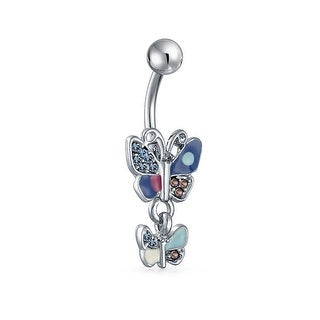Bling Jewelry Imitation Aquamarine CZ Butterfly Belly Ring Stainless Steel