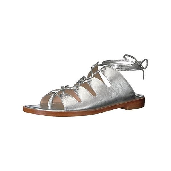 Loeffler Randall Womens Kira Flat Sandals Metallic Thong
