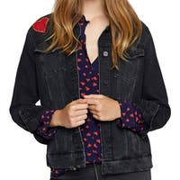 Sanctuary Black Womens Size Small S Embroidered Denim Jacket