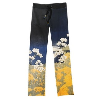 Women's Asian Print French Terry Sweatpants - Black with White Flowers