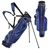 Gymax Blue Golf Stand Cart Bag Club with Carry Organizer Pockets Blue