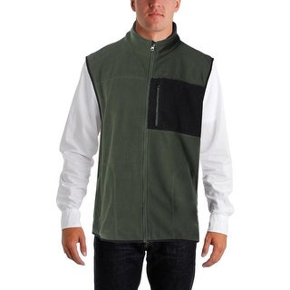 Izod Mens Outerwear Vest Fleece Mixed Media