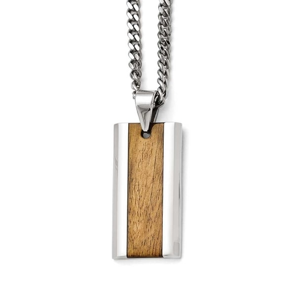 Chisel Stainless Steel Polished Wood Inlay Enameled Necklace - 20 in