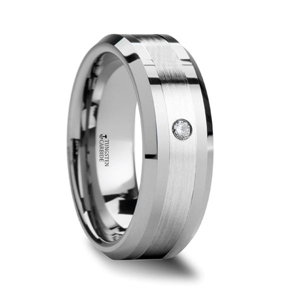 THORSTEN - LEOPOLD Silver Inlaid Beveled Tungsten Ring with Diamond
