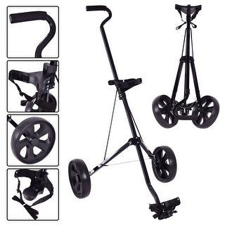 Costway Foldable 2 Wheel Push Pull Golf Club Cart Trolley Swivel Steel Lightweight Black