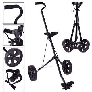 Costway Foldable 2 Wheel Push Pull Golf Club Cart Trolley Swivel Steel Lightweight Black