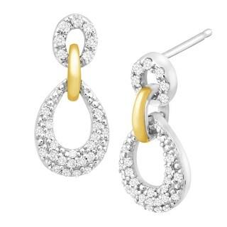 1/5 ct Diamond Loop Drop Earrings in Sterling Silver & 10K Gold