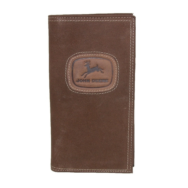 John Deere Men's Distressed Leather Checkbook Cover - One size