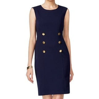 Connected Apparel NEW Blue Navy Women's 12 Button-Accent Sheath Dress