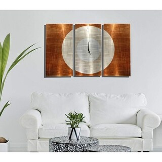 "Statements2000 Handmade Metal Wall Clock Art Modern Silver Copper Decor by Jon Allen - Endless Time - 38"" x 24"""