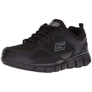 Skechers Work Men's Telfin-Sanphet Industrial Shoe, Black Leather Courdura
