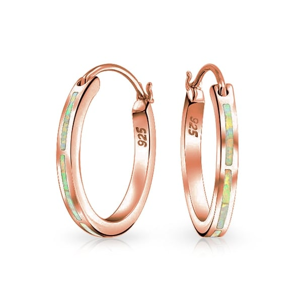 7862f8652 Shop Created Pink Opal Inlay Flat Tube Large Hoop Earrings For Women Rose  Gold Plated 925 Sterling Silver October Birthstone - On Sale - Free  Shipping On ...