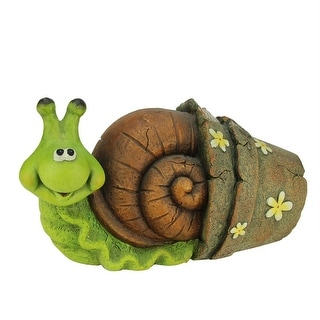"15.25"" Bright Green and Brown Snail in Flower Pot Outdoor Garden Statue - N/A"