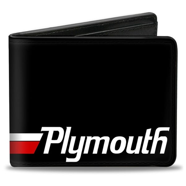 Plymouth Text Stripe Black White Red Bi Fold Wallet - One Size Fits most