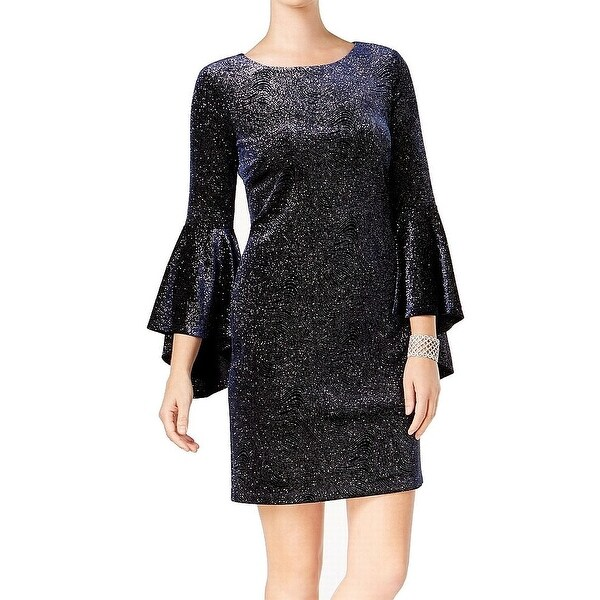 Jessica Howard Blue Womens Size 6 Bell Sleeve Shimmer Sheath Dress