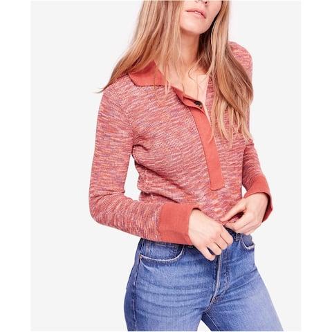 Free People Womens Making Memories Henley Sweater, Orange, Medium