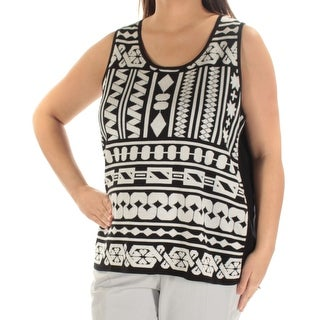 ANNE KLEIN $99 Womens New 1449 Black Striped Sleeveless Sweater 1X Plus B+B