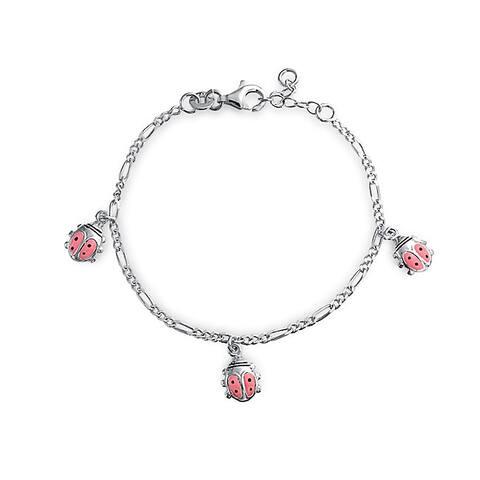 Pink Ladybug Dangling Charm Bracelet Women 925 Sterling Silver 6 Inch