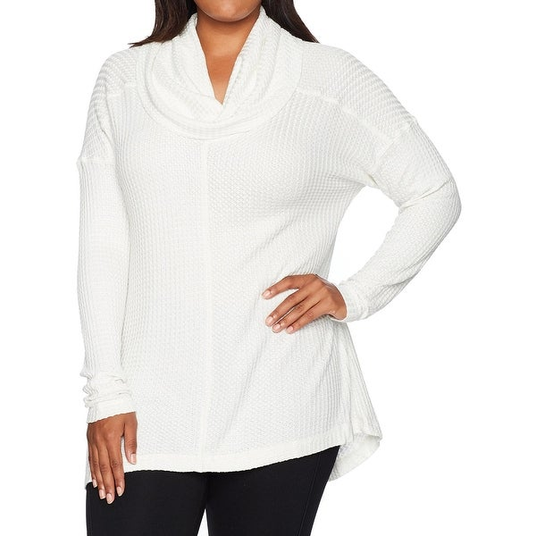 Lucky Brand White Women's Size 1X Plus Cowl-Neck Waffle Knit Top