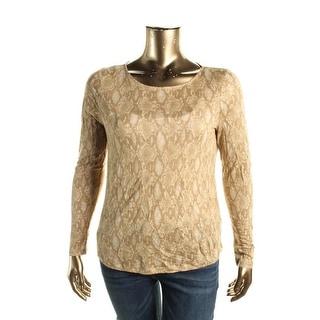 Lauren Ralph Lauren Womens Linen Snake Print Casual Top - XL