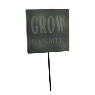 Grow Dammit Funny Green Garden Sign Flower Pot Stake