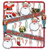 30-Piece Santa, Toy Soldier, Candy Cane and Whirls Trimorama Christmas Decoration Kit - multi