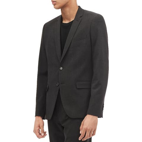 Calvin Klein Mens Sportcoat Notch Lapel Shadow Plaid