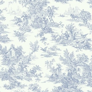 York Wallcoverings AT4229 Blue Book Campagne Toile Wallpaper - Blue/White - N/A