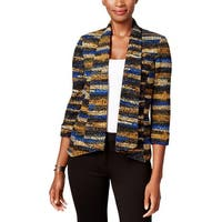 Kasper Womens Open-Front Blazer Textured Printed