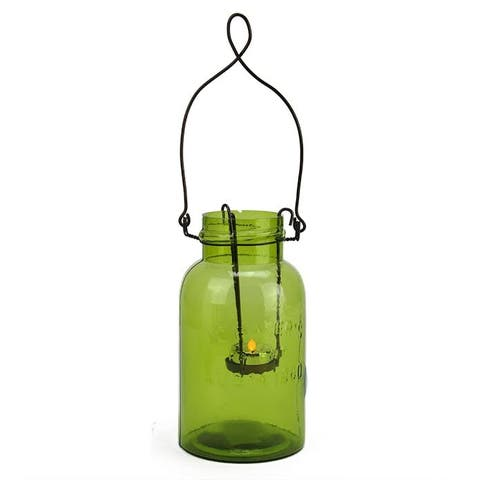 "7.5"" Fancy Fair Decorative Green Glass Mason Jar Tealight Holder"