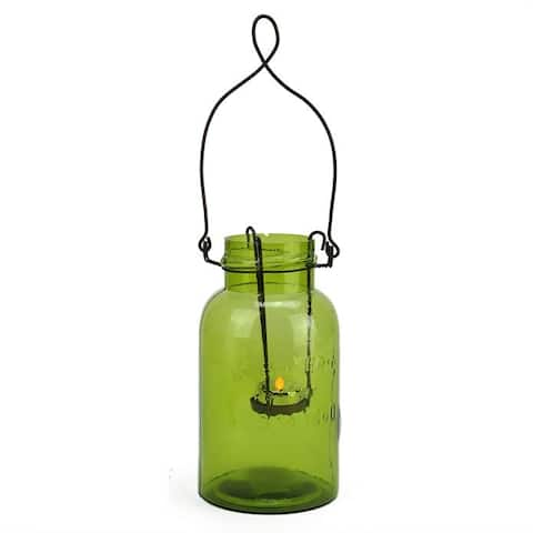 "7.5"" Fancy Fair Decorative Green Glass Mason Jar Tealight Holder - N/A"