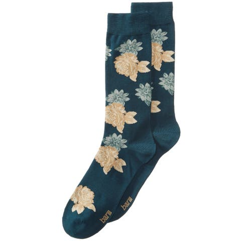 bar III Mens Floral Dress Socks, Green, 10-13