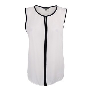 Vince Camuto Women's Sleeveless Contrast-Trim Keyhole Top - new ivory - xL