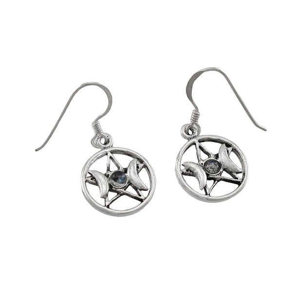 7f59b0255 Sterling Silver White Stone Triple Goddess Pentacle Earrings. Click to Zoom