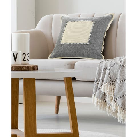 Neutral Gray Riviera Framed Throw Pillow