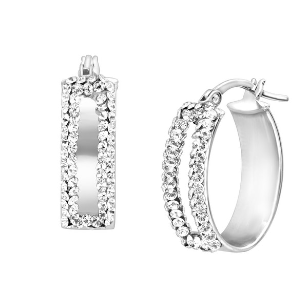 Crystaluxe Bold Oval Earrings with Swarovski elements Crystals in Sterling Silver