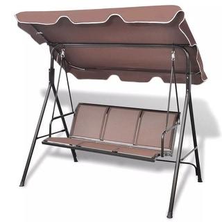vidaXL Swing Chair 3-Seater Brown Garden Patio Outdoor Canopy Hammock Relaxer