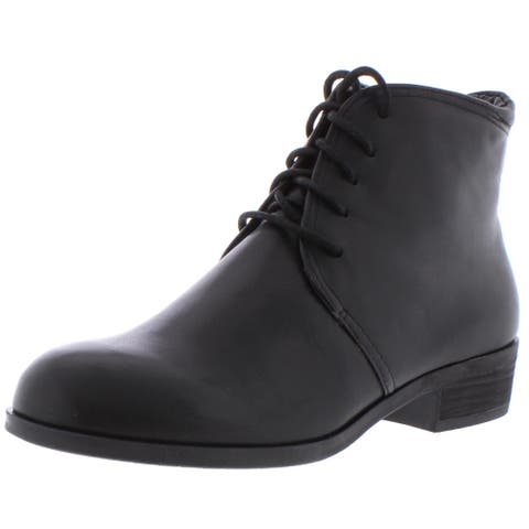 Array Womens Beauty Ankle Boots Leather Lace-Up - Black